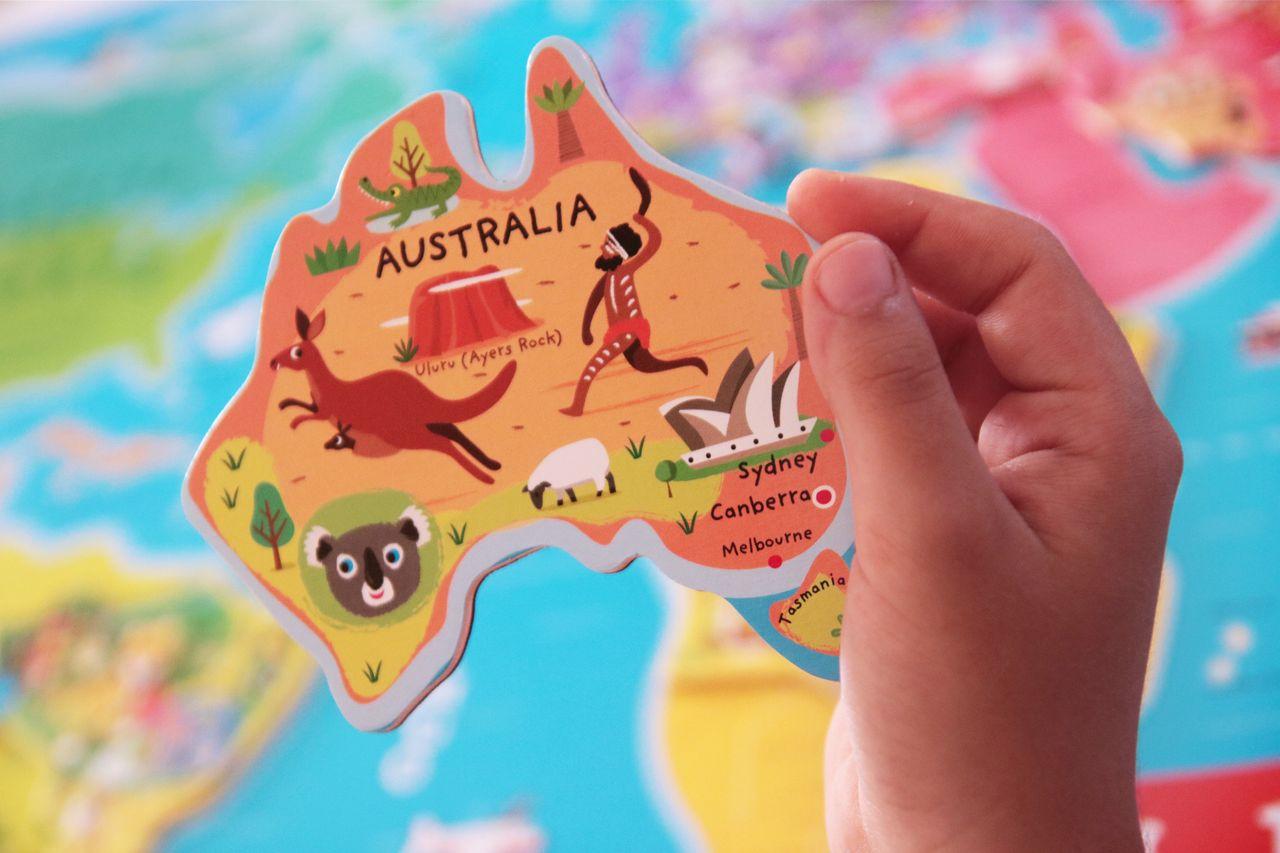 Australia en el puzle del mundo de Janod