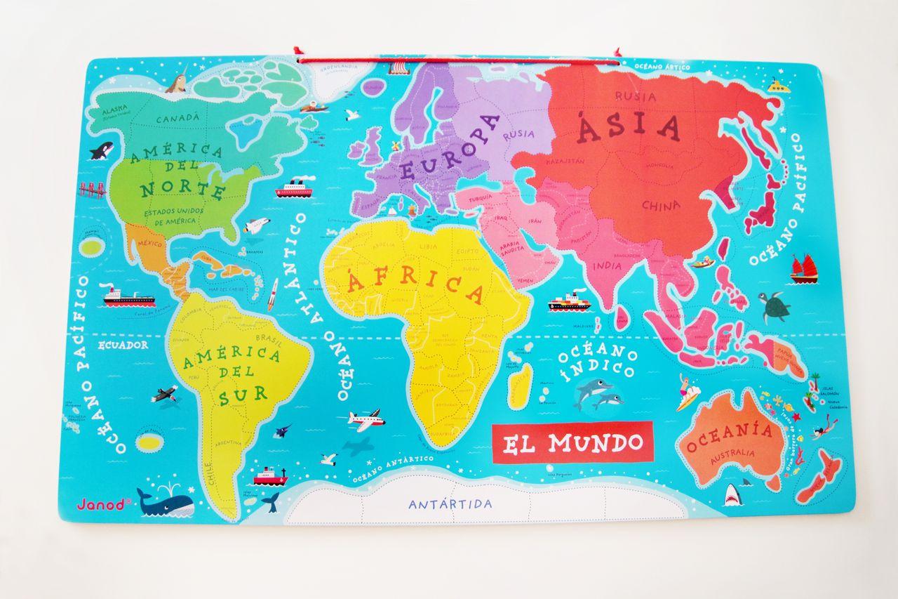 Continentes colores mapamundi magnetico