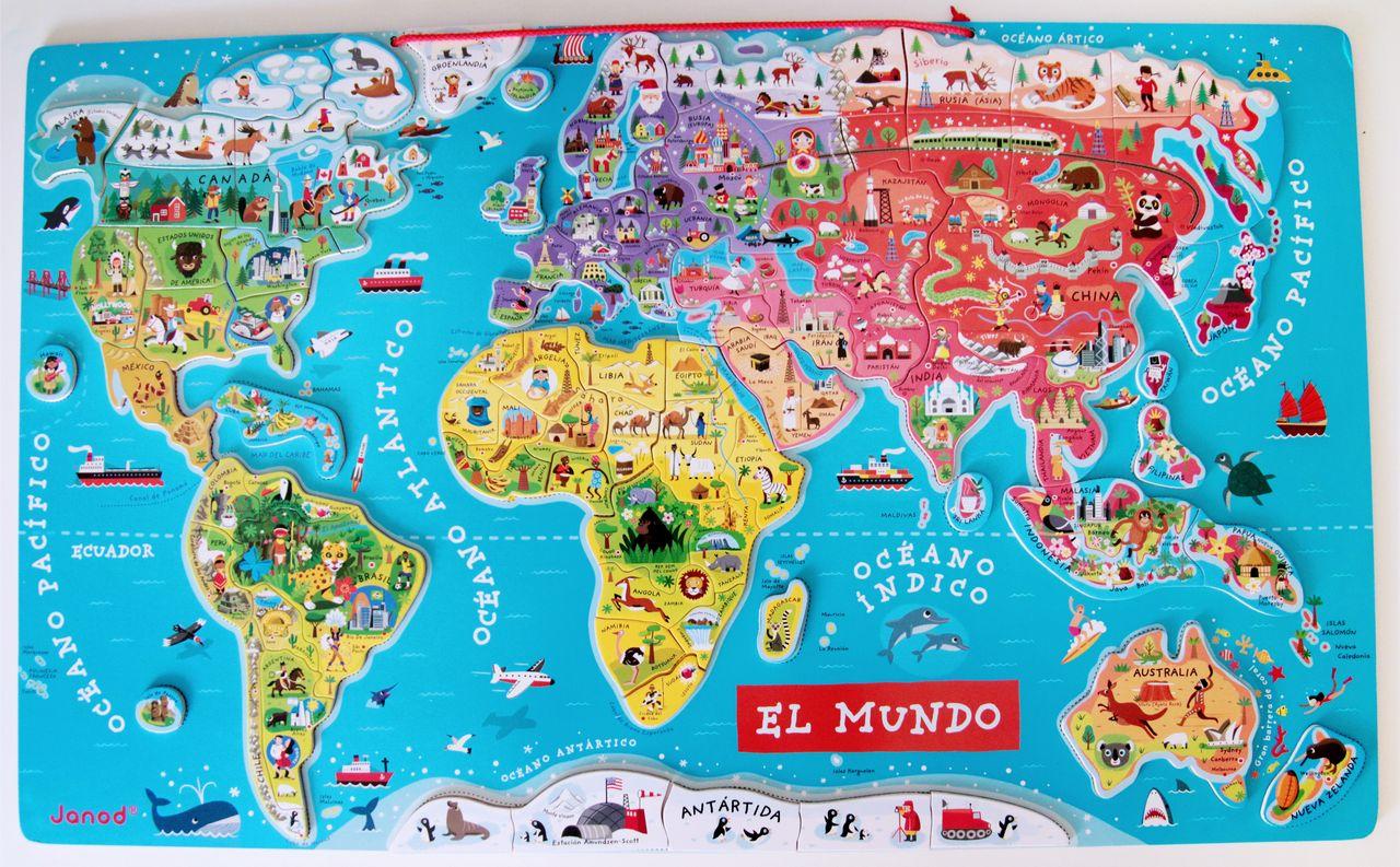 mapa mundi magnetico Aprendiendo geografía con el mapa de Janod + Imprimible mundo  mapa mundi magnetico