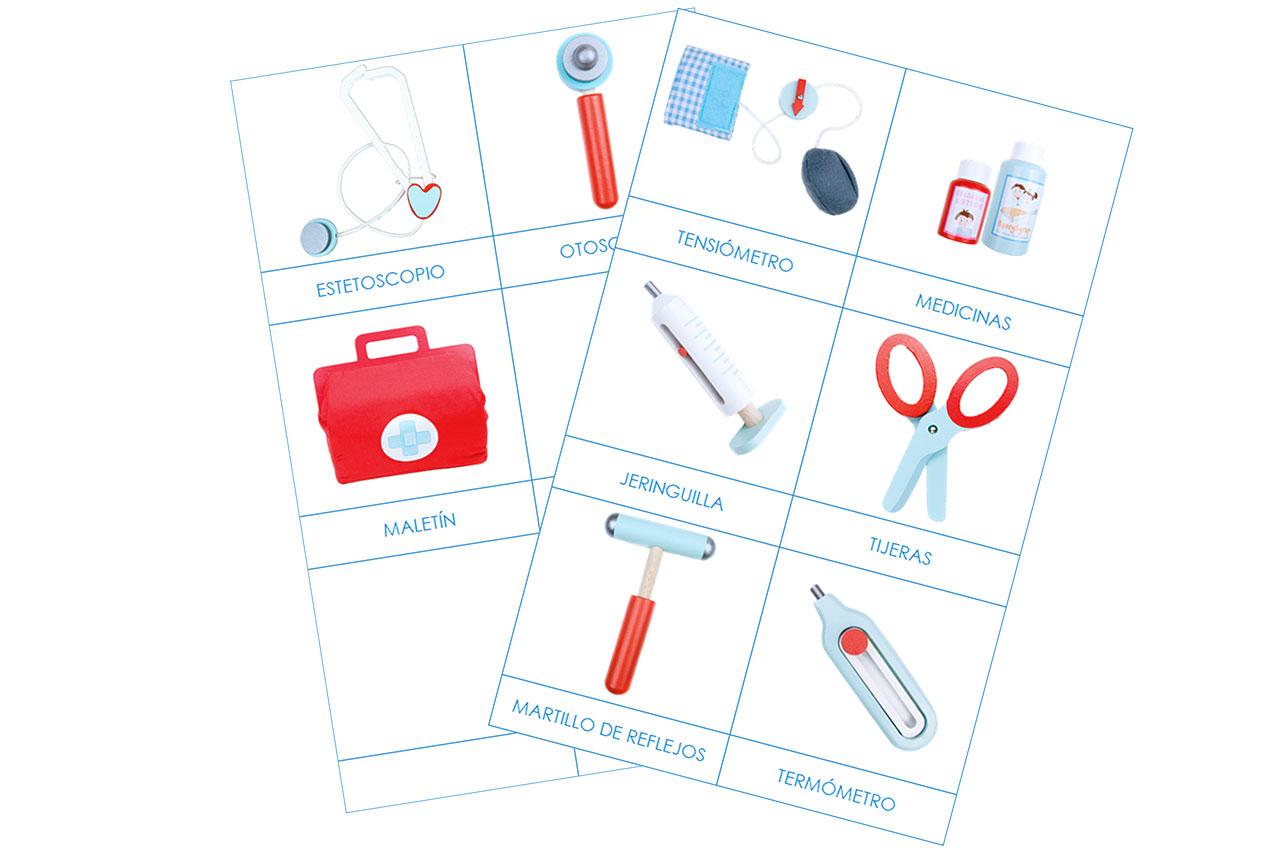 Imprimible Montessori para jugar a los médicos