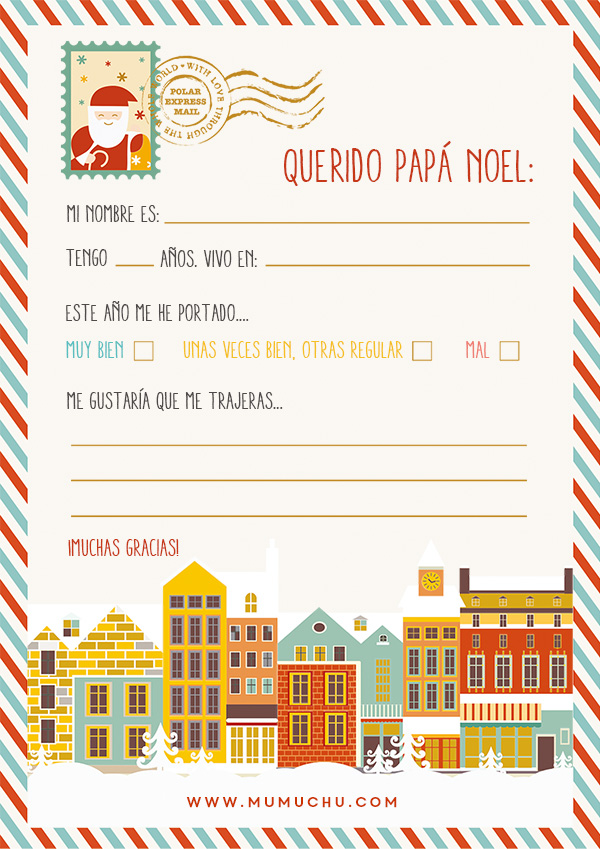Carta para imprimir de Papá Noel