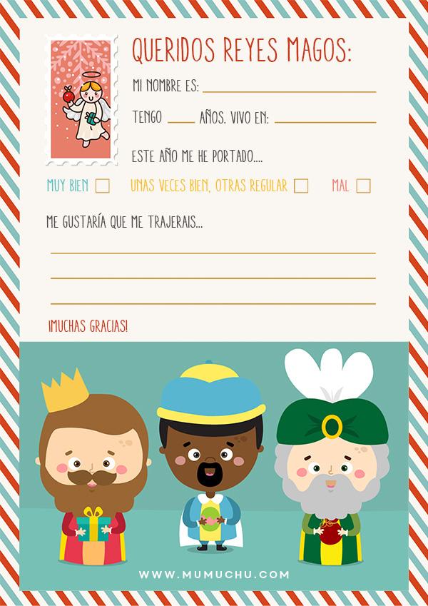 Cartas imprimibles para los Reyes Magos y Pap Noel  Mumuchu