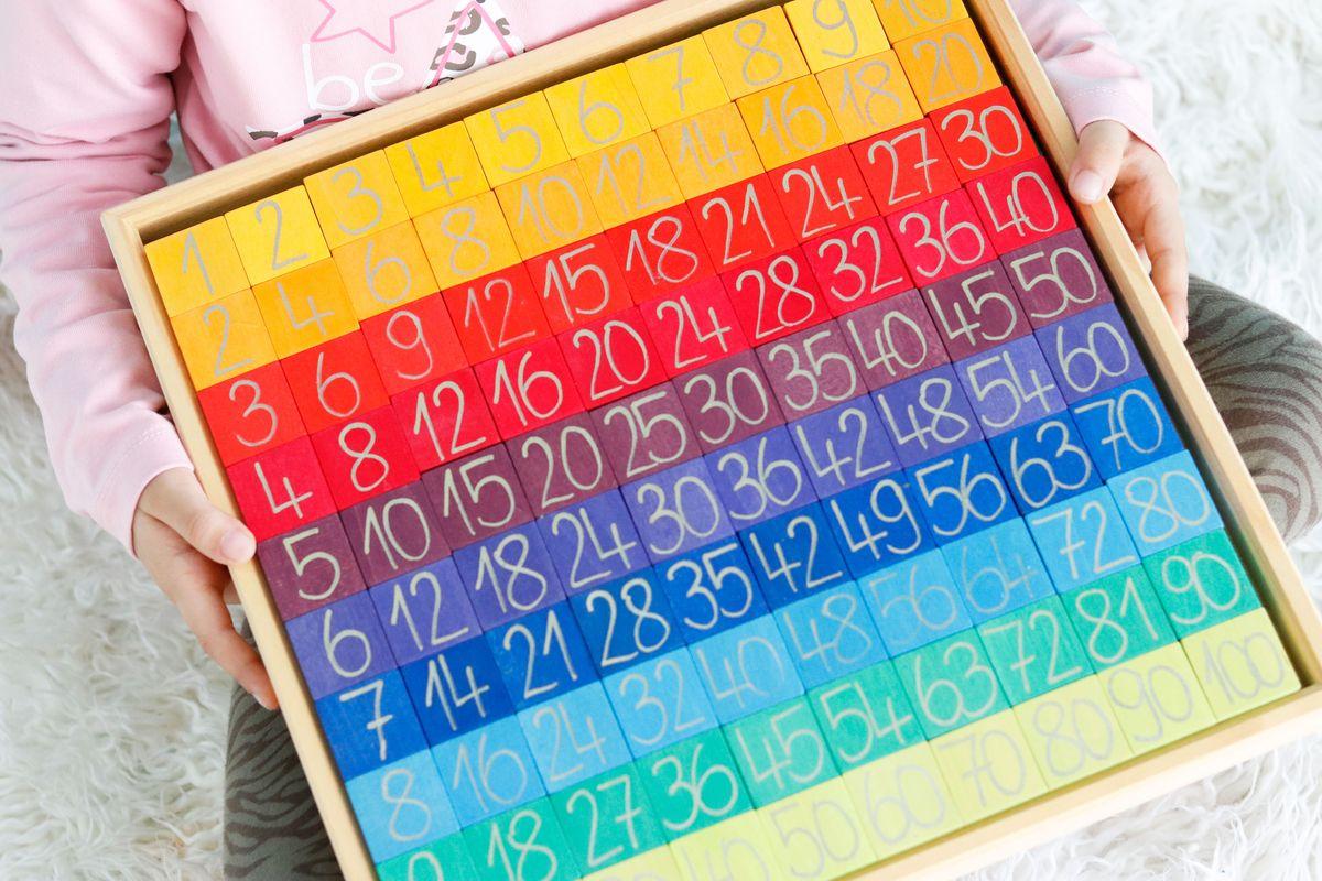 Tabla con fichas de madera para multiplicar y contar de Grimm's