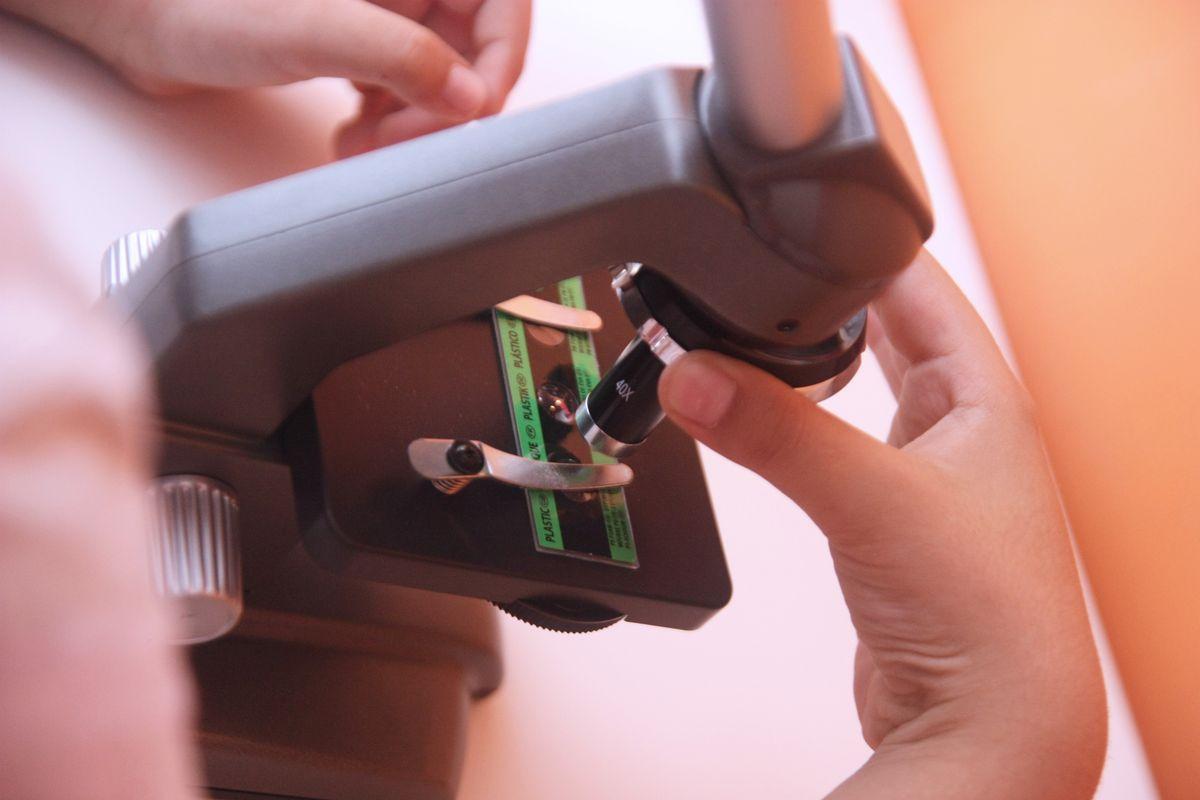 Ajustando el microscopio