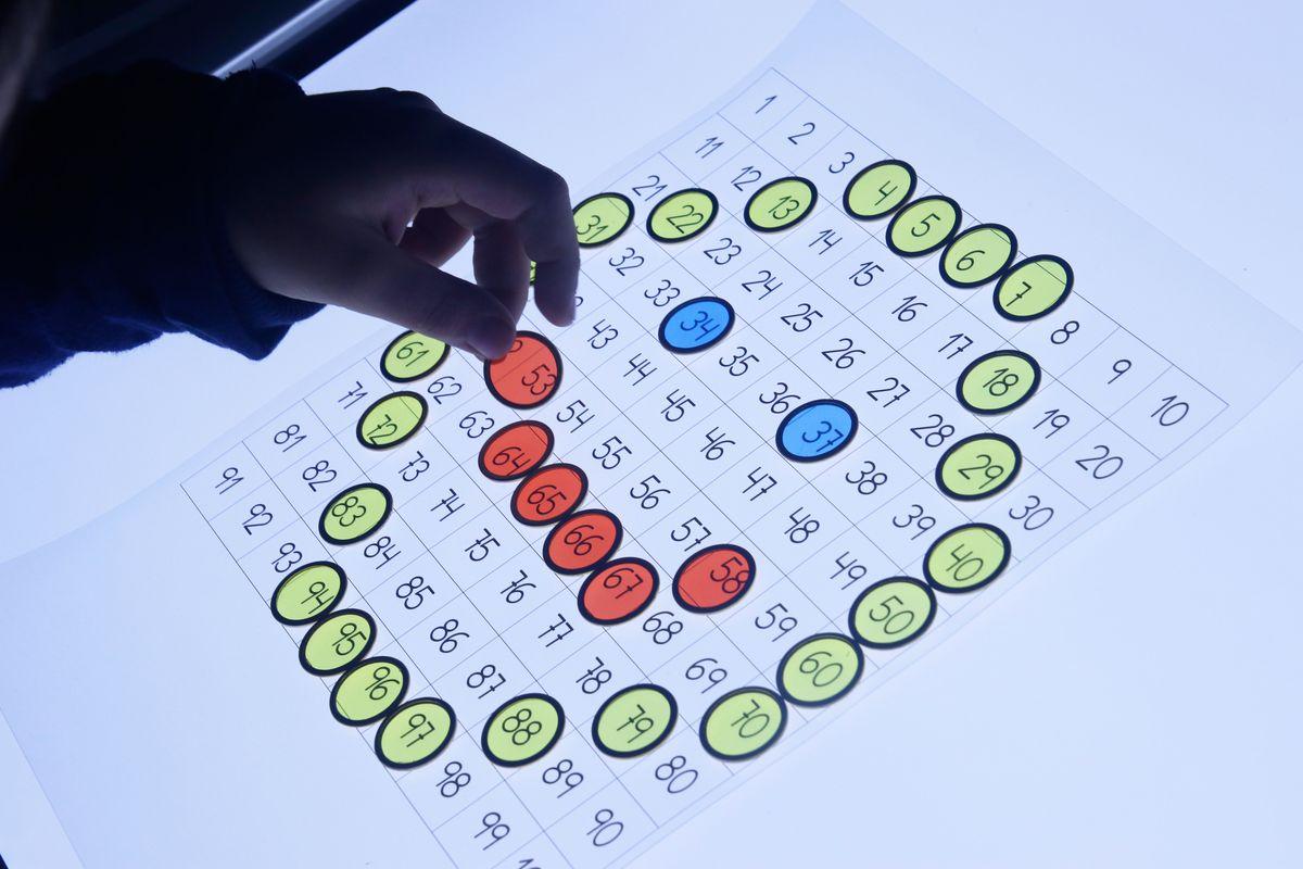Dibujo representación y asociación de números den la tabla del 100 en la mesa de luz
