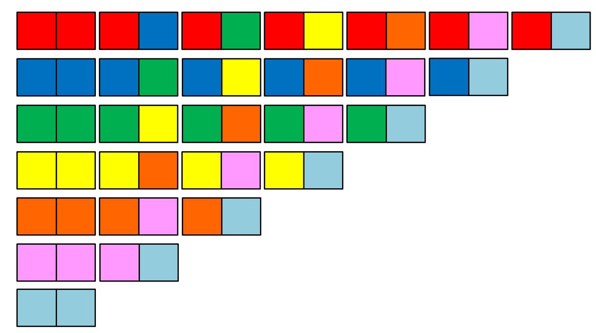 esquema para pintar dominó de colores